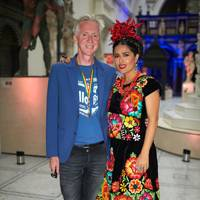Phillip Treacy and Salma Hayek