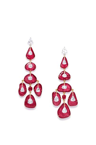 Ruby and diamond earrings, POA, Glenn Spiro