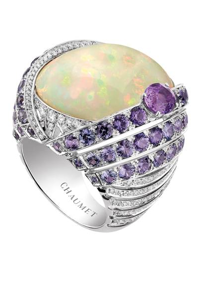 White-gold diamond, violet-sapphire & white-opal ring, POA, by Chaumet