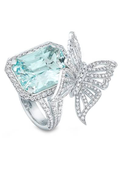 Aquamarine and diamond ring, POA, David Marshall London
