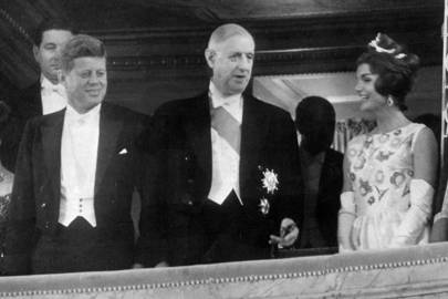 John F Kennedy, Charles de Gaulle and Jackie Kennedy at the opera, 1961