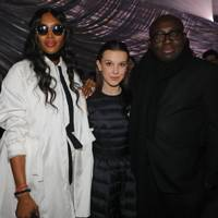 Naomi Campbell, Millie Bobby Brown and Edward Enninful at Moncler A/W18