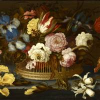 Balthasar van der Ast - A Still Life of Flowers in a Wicker Basket