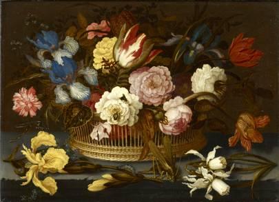 Balthasar van der Ast - A Still Life of Flowers in a Wicker Basket