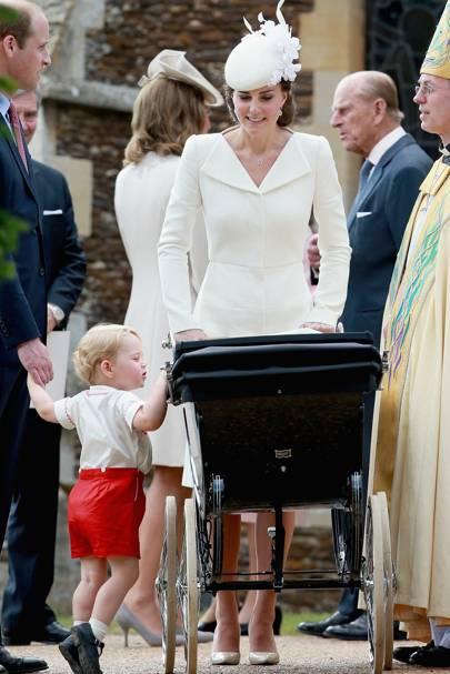 The Duke of Cambridge, Prince George, The Duchess of Cambridge, Princess Charlotte and The Archbishop of Canterbury