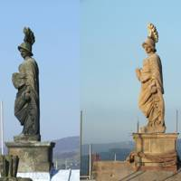 Before and after: the Minerva statue on the roof