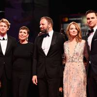 Joe Alwyn, Olivia Colman, Yorgos Lanthimos, Emma Stone and Nicholas Hoult at The Favourite premiere