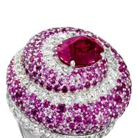 White-gold, diamond, pink-sapphire & pink tourmaline ring, £45,500, by Piaget