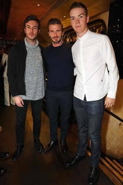 Tom Hughes, David Beckham and Will Poulter