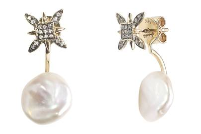 Gold & sapphire studs, £440 (top); Gold & pearl earrings (attached), £300, both by Annoushka