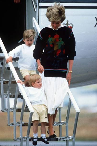 Prince William, Prince Harry and the Princess of Wales, 1986