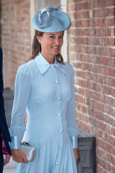 Pippa Middleton wears a button-up dress by Alessandra Rich at the christening of Prince Louis of Cambridge