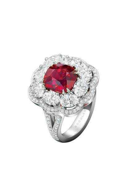 Ruby, diamond and platinum ring, POA, Boodles