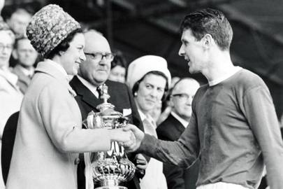 1966: Presenting Everton's Brian Labone with the FA Cup