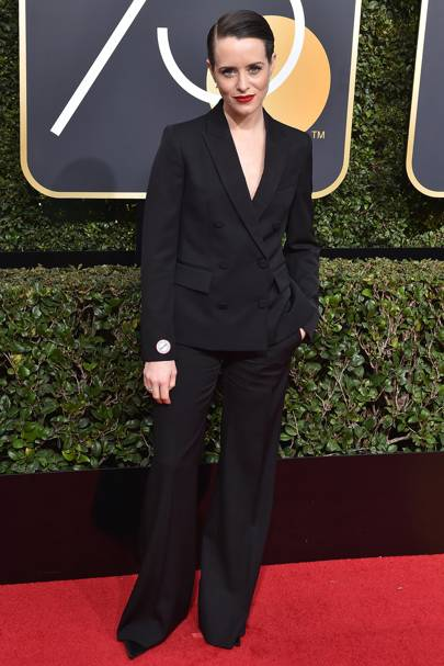 Wearing Stella McCartney at the Golden Globes, 2018