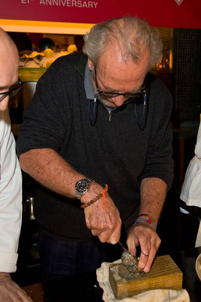 Taking part in (and winning) the celebrity round of the British Oyster Shucking Championship in 2013