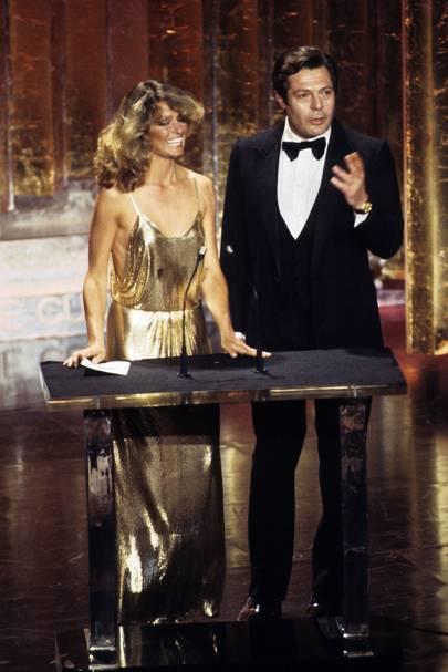 Farrah Fawcett wearing Stephen Burrows in 1978