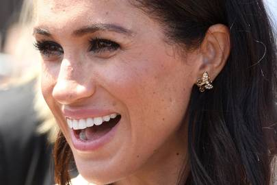 The Duchess of Sussex wearing butterfly earrings once owned by Princess Diana in Australia