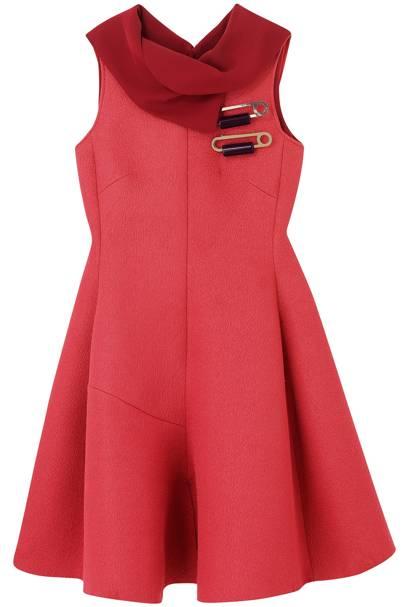 Dress £500; silk top, £325; brooches, £225 each, all Emporio Armani