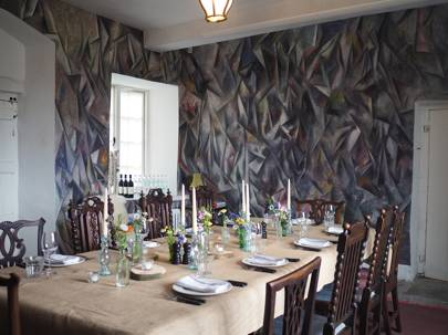 Dining room: Painted walls by Guillermo Kuitca