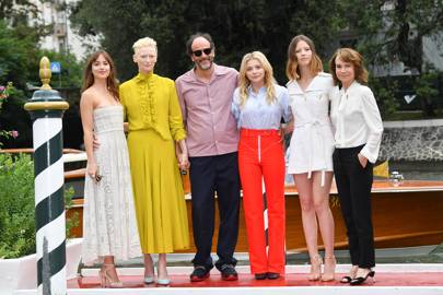 Dakota Johnson, Tilda Swinton, Luca Guadagnino, Chloe Grace Moretz, Mia Goth and Jessica Harper at the Suspiria photocall