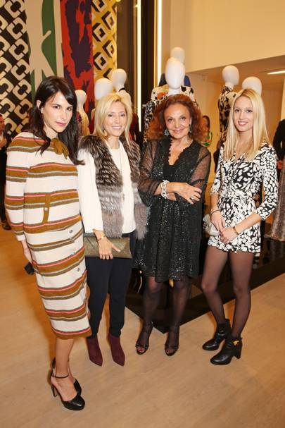 Caroline Sieber,  Princess Marie-Chantal, Diane von Furstenberg and Princess Olympia of Greece