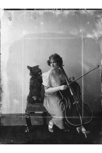 Cellist Beatrice Harrison with a pet Scottie, by Dorothy Wilding, 1923