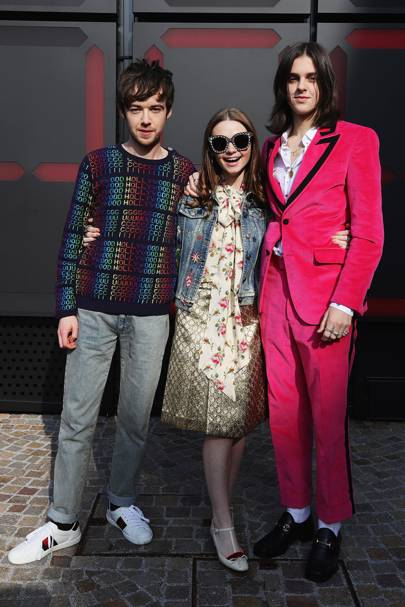 Alex Lawther, Jessica Barden and Earl Cave at Gucci A/W18