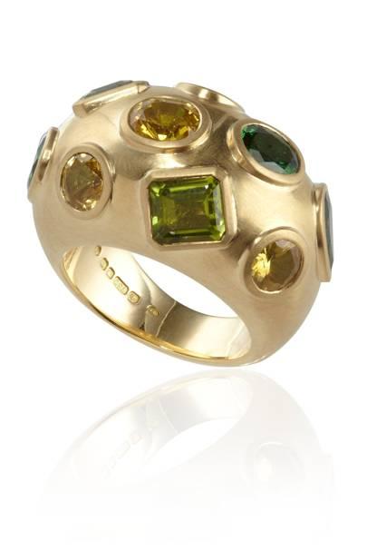 Gold, yellow-sapphire, peridot & tsavorite ring, £6,350, by Jessica Naylor-Leyland