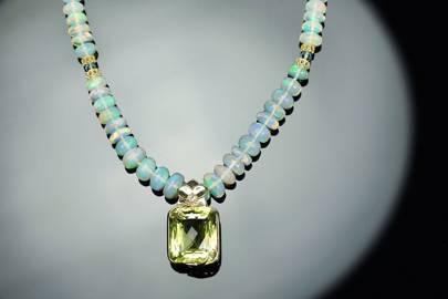 Fiery Light: Pendant Choker Necklace-Opal Topaz Citrine Gold