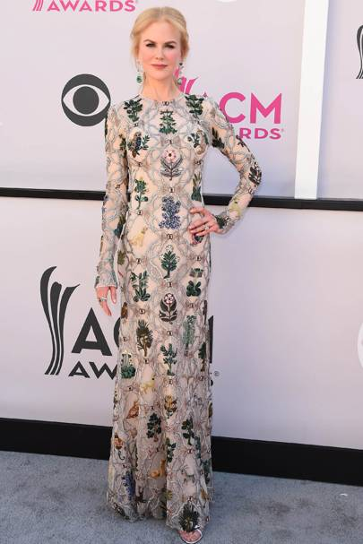 Wearing Alexander McQueen at the ACM awards, 2017