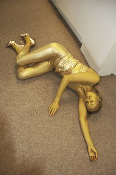 Art director Clare Ferguson as gold girl from Goldfinger