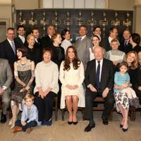 The Duchess of Cambridge with the cast of Downton Abbey