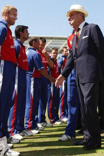 Prince Philip meets the England cricket team, 2005