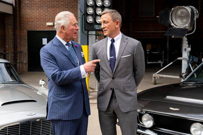 The Prince of Wales visits the set of Bond 25