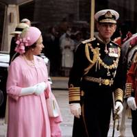 Prince Philip and the Queen during a Silver Jubilee procession, 1977