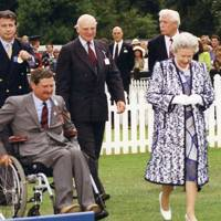 Arnaud Bamberger, the Hon Mark Vestey, Major-General Bernard Gordon Lennox and the Queen