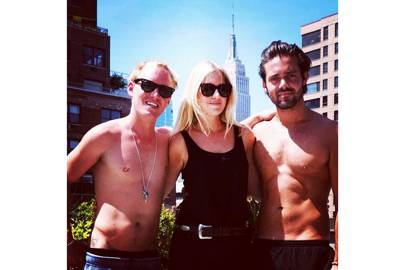 Just Spencer Matthews and Jamie Laing with their tops off posing with a pretty blonde in New York (2014)