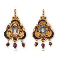 16th century miniature enamel and garnet portrait pendant