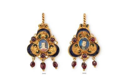 16th century miniature enamel and garnet portrait pendant