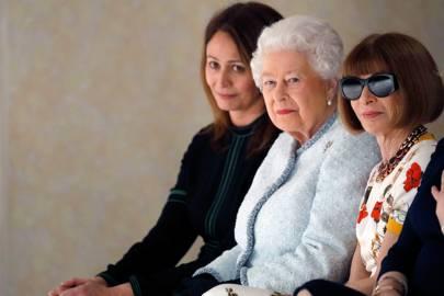 Caroline Rush, the Queen and Anna Wintour at Richard Quinn A/W18
