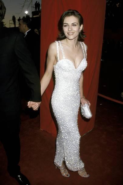 Elizabeth Hurley wearing Versace in 1995