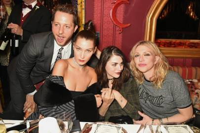 Derek Blasberg,  Bella Hadid, Frances Bean Cobain and Courtney Love