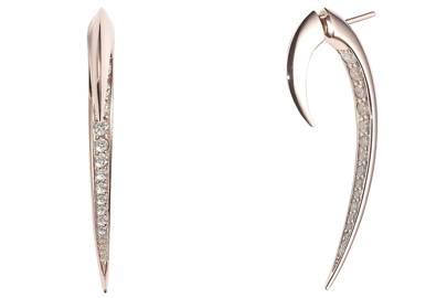 Rose-gold earrings, £4,260, by Shaun Leane
