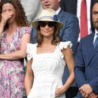 Pippa Middleton wears a white eyelet Anna Mason dress, at day four of the Wimbledon Tennis Championships