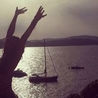 Alice Temperley salutes the sun in Ibiza (2014)
