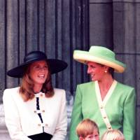 The Duchess of York (as Sarah, Duchess of York was then titled), the Princess of Wales, Prince Harry and Princess Beatrice, 1990