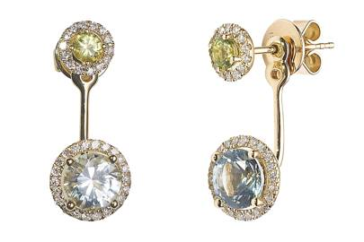 Gold peridot & blue-topaz drop earrings, £1,800, by Kiki McDonough