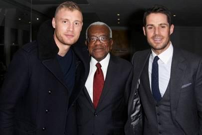 Andrew Flintoff, Sir Trevor McDonald and Jamie Redknapp