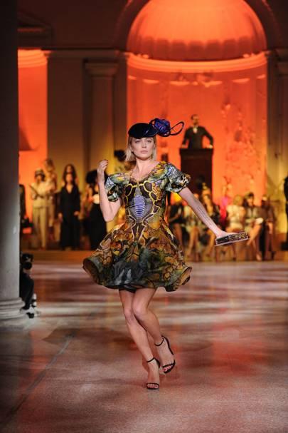 Caroline Vreeland in a velvet Philip Treacy hat and a multicoloured Alexander McQueen dress, 2010